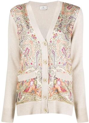 Etro Paisley Print Fine Knit Cardigan