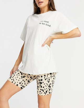 ASOS DESIGN it's cool to be kind oversized tee and legging short set in cream and leopard print