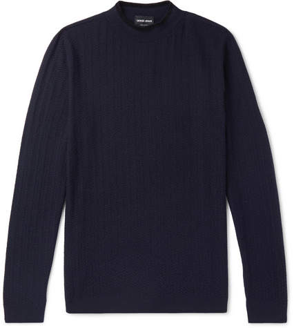 Giorgio Armani Slim-Fit Herringbone Virgin Wool-Blend Sweater