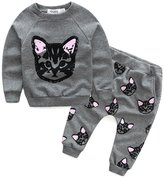 Balakie Baby Tops Pants, Long Sleeve Cats Printing Set Tracksuit Coat + Trousers Outfits (S)