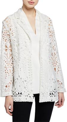 Misook Petite Long-Sleeve Open Lace Blazer