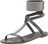 Flat Sandal with Ball Chain Trim, Charcoal