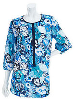 As Is Liz Claiborne New York 3/4 Sleeve Floral Printed Tunic