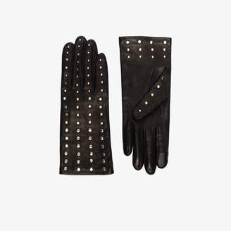 Agnelle Womens Black Claire Leather Studded Gloves