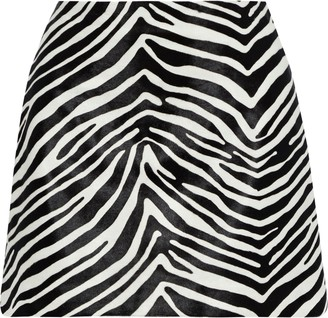 Frame Zebra-print Calf Hair Mini Skirt