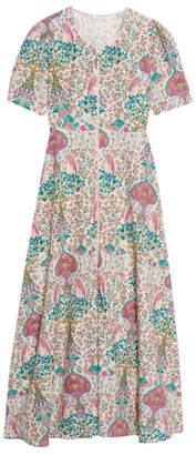 Sandro Paris Printed Linen-Cotton Maxi Dress