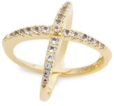 Elizabeth and James Women's 'Windrose' Pave White Topaz Ring