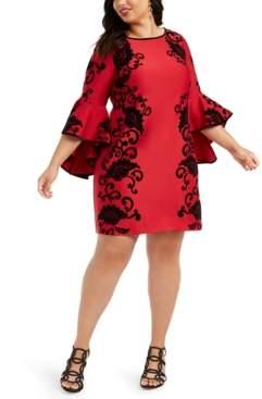 MSK Plus Size Flocked Floral-Print Bell-Sleeve Sheath Dress