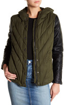 BLANKNYC Denim Bed Fellows Faux Leather Sleeves Puffer Jacket