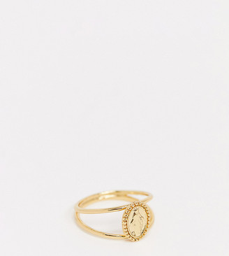 Reclaimed Vintage inspired coin ring in gold plate