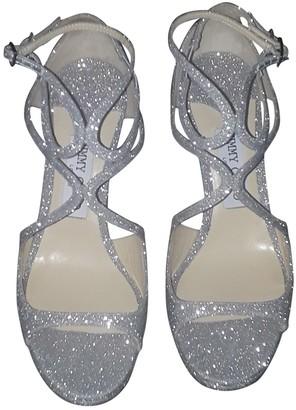 Jimmy Choo Lance Silver Cloth Sandals