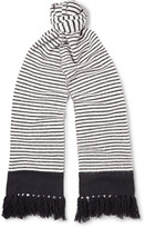 MP Massimo Piombo - Fringed Striped Wool Scarf