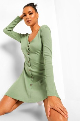 boohoo Rib Long Sleeve Button Detail Skater Dress