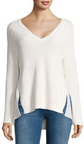 French Connection Lace-Accented Textured Top