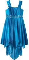 My Michelle Girls 7-16 Blue Glitter Handkerchief Hem Jersey Dress