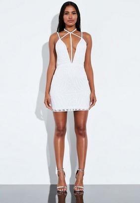 Missguided White Harness Neck Embellished Mini Dress
