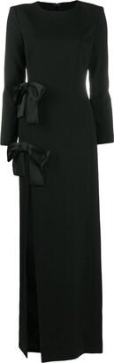 Saint Laurent Bow-Embellished Side Slit Dress