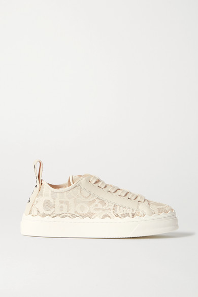 Chloé Lauren Scalloped Lace, Leather And Canvas Sneakers - Off-white