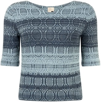 Studio Myr One-Of-A-Kind Three-Quarter Sleeve Knitted Cotton Jumper Denim Wasted Blue