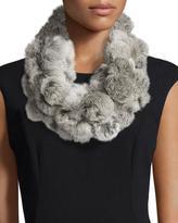Adrienne Landau Rabbit Fur Pompom Infinity Scarf, Goma Gray