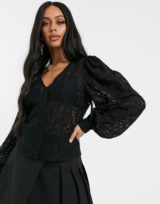 NA-KD puff sleeves lace blouse in black