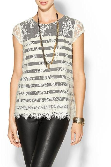 Juicy Couture Rhyme Los Angeles Frances Overlay Blouse