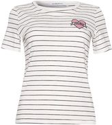 Glamorous **'Feelings' Embroidered Striped T-Shirt