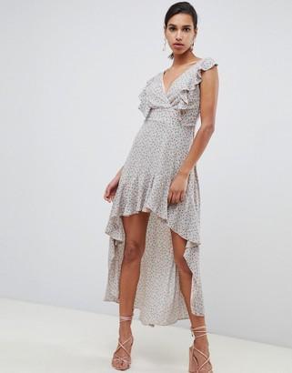 TFNC hi lo dress with ruffle detail-Multi