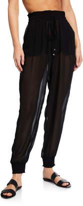 Kate Spade Smocked Drawstring Chiffon Coverup Pants