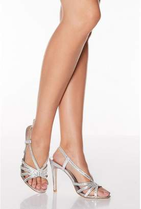 Quiz Silver Diamante High Heel Sandals