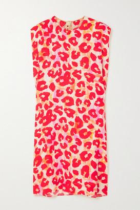 Marni Leopard-print Crepe Mini Dress - Red