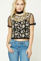 Forever 21 Contemporary Floral Mesh Top