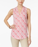 Charter Club Petite Printed Surplice Top, Created for Macy's