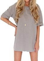 Qiyun Casual Women Gray Solid Color Half Sleeve O Neck Loose Summer Mini Dress Robe