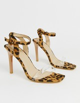 Truffle Collection clear strap barely there heeled sandals in leopard