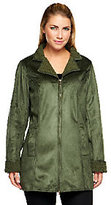 As Is Denim & Co. Zip Front Faux Suede and Sherpa Mid Length Coat