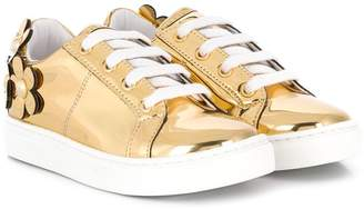 Little Marc Jacobs Girls Gold Daisy Trainers