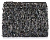 Topshop Bead Fringe Clutch - Black