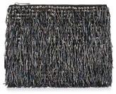 Topshop Bead Fringe Clutch - Black