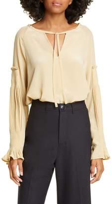 Sea Solei Pleated Long Sleeve Silk Blouse