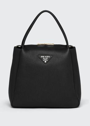 Prada Calfskin Large Zip Shopper Tote Bag