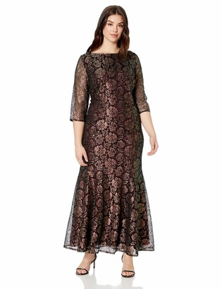 Brianna Women's Size Plus 3 qtr Sleeve v Back lace Gown Black/Gold 22w