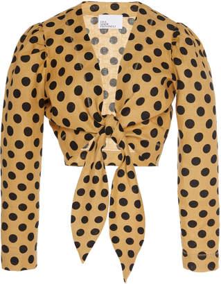 Lisa Marie Fernandez Tie-Front Polka-Dot Linen Blouse
