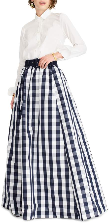 J.Crew Gingham Belted Taffeta Ball Skirt