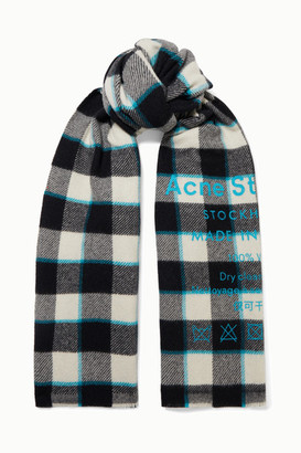 Acne Studios Printed Checked Wool Scarf - White