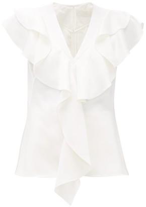 Peter Pilotto Frill-trim Satin-crepe Top - White