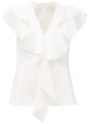 Peter Pilotto Frill-trim Satin-crepe Top - Womens - White