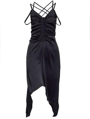 Atlein Black Asymmetric Satin Dress