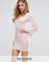 Club L Twist Knot Front Mini Dress with Choker Detail and Fluted Sleeves