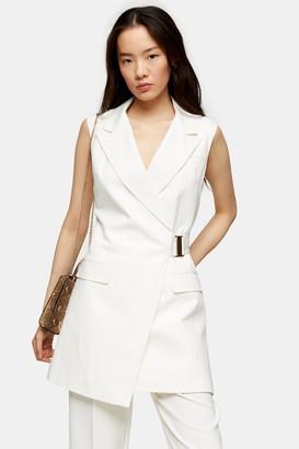 Topshop Womens Ivory Belted Sleeveless Blazer - Ivory